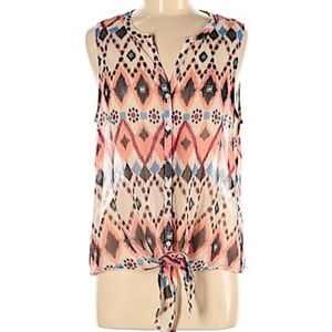 Lucky Brand Aztec Sheer Sleeveless Button Front L